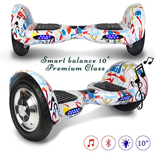 Hoverboard elettrico Bluetooth scooter a 10 pollici con Bluetooth & LED Auto Balance E-Skateboard