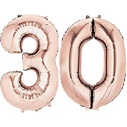 Ouinne Ballon Zahl 30, Helium Folie Luftballon 30 Geburtstag Folienballon Geburtstag Dekoration Set Riesen Folienballon Fur Party (Rose, 40 Zoll)