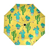 Paraguas Originales Amarillos Con Cactus En Dos Tonos De Verde