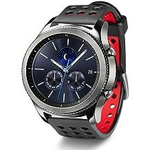 Greatfine 22mm correa Silicona Banda de Reloj de la correa de para Samsung Gear S3 frontier / Gear S3 Classic / Gear2 R380 Neo R381 Live R382 / MOTO 360 2nd/Pebble Time / LG G Watch W100/W110/Urbane Smartwatch (Black Red)