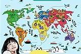Ecloud Shop La habitación de la pared Etiqueta de la historieta Sala infantil decorativo Mapa del Mundo