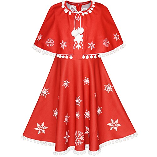 e7b49355d7c29 Sunny Fashion Robe Fille Rouge Cape Cape Noël an Vacances Partie 4 ...