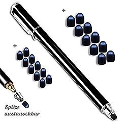 Kaufen Premium Touchstift Schwarz mit 20 x Ersatzspitzen Eingabestift Stylus Touch Pen