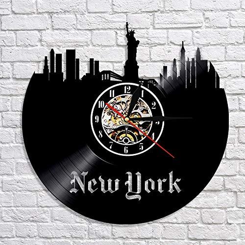 A/N Modern NYC CD Orologio da Parete in Vinile New York Cityscape Orologio da Parete Design Moderno Skyline 3D Art Decor Orologio da Parete Orologio da Parete