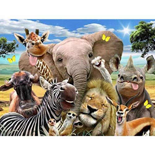 TWYYDP Puzzle in Legno per Adulti 1000 Pezzi Divertente Animale Elefante Zebra Leoneil Miglior...