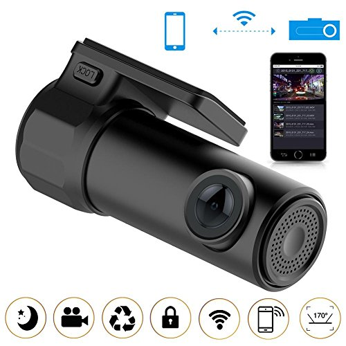 AFFECO Full HD 1080P WiFi Car DVR Camera Video Recorder Monitor for Android/iPhone