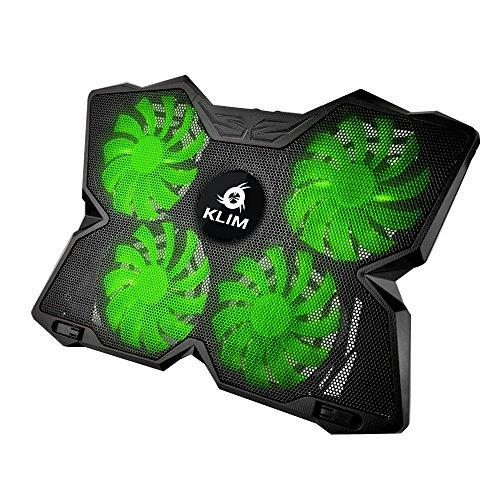 KLIM Wind Laptop - PC Kühler – Leistungsstark Wie Kein Anderer – Schneller Kühlvorgang - 4 Lüfter Belüfteter Notebookständer Gamer Gaming Stützhalterung - Grün 2018 Version
