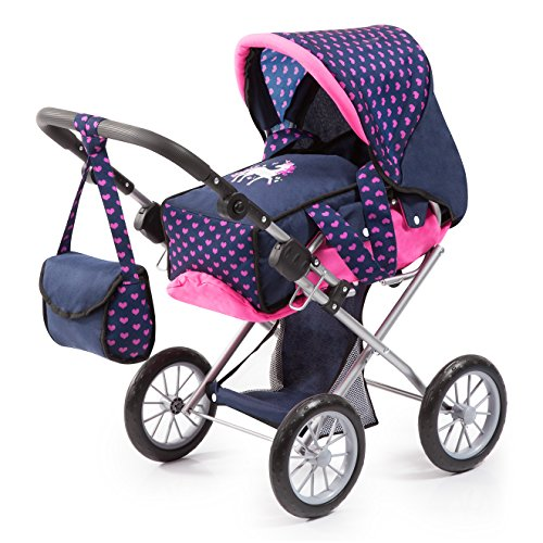 Bayer Design 13654AA Carrozzina per bambole City Star, regolabile, unicorno, blu, rosa
