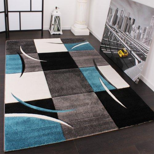 Paco Home Tappeto di Design Orlo Modello A Quadri nei Colori Bianco Turchese Grigio Nero,...