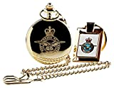 RAF Crested Gold Pocket Watch and 24k Coated Keyring Engraved Crest Gift Set Royal Air Force Military Gifts