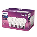 Philips LED B22 Bayonet Cap Light Bulbs, Frosted, 8 W (60 W) - Warm White, Pack of 6