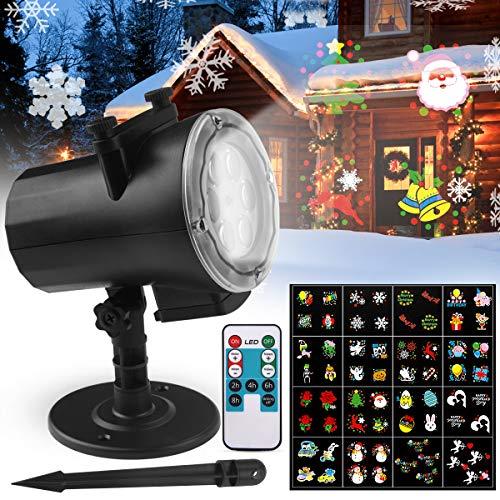 Proiettore Luci Natale LED, FOCHEA IP65 Faretti LED Illuminazione 16 Lenti Intercambiabili Esterno &...