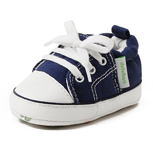 DELEBAO Scarpe Bimbo bebé Primi Passi Unisex Prima Infanzia Scarpe da Ginnastica con Suole Morbide Scarpe da Bambino di Tela (Marina Militare,18-24 Mesi)