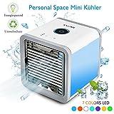 Condizionatore Portatile, Personal Air Cooler Mini Raffrescatore Umidificatore Purificatore D'aria USB Climatizzatore Air Conditioner per Casa, Ufficio, Camera da letto, Cucina, Bagno, Yoga