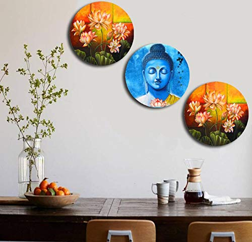 Studio Shubham Wooden Floral Buddha Wall Plates for Hanging (7.5 Inch, Set of 3)