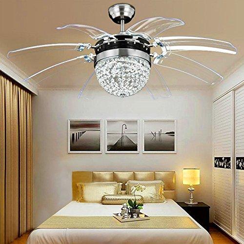 Ventilatore da soffitto in cristallo telecomando moderno Fly Invisible 8 Leaf Fan Light decorativo...