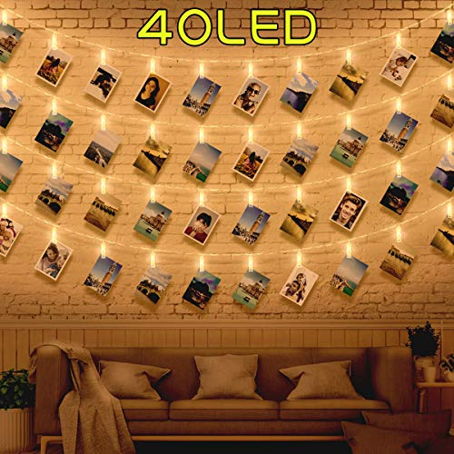 40 Luci per Foto - Lucine Led Decorative per Camere Luci Led Foto, Porta Foto Polaroid Mollette Led...