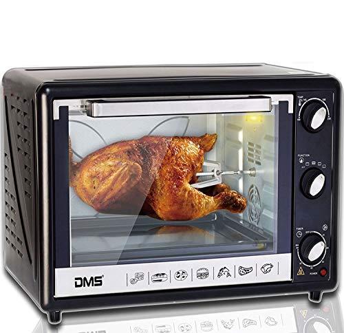 DMS 63L Mini-Backofen mit Drehspieß Umluft Pizzaofen Ofen, Backofen mit Innenbeleuchtung, Timer 2200 Watt herausnehmbares Krümelblech OCR-63D