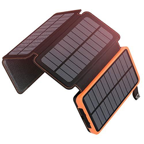 Caricabatterie Solare Portatile 25000mAh, ADDTOP Power Bank con 4 Solari Pannelli Impermeabile...