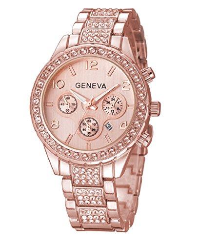 Geneva Platinum Analogue Big Size Studded Rose Gold Dial Women's Watch - GP-223