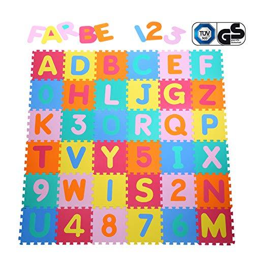 Yorbay 36 Pezzi da Gioco Tappetini puzzle Tappeto Puzzle Stuoia Morbida EVA - 26 Lettere...