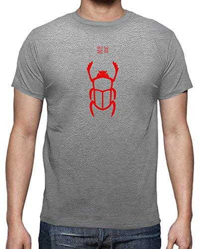 latostadora - Camiseta Escarabajo Rojo para Hombre Gris vigoré M