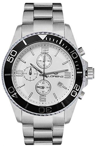 Orologio Lorenz Cronografo 030049BB uomo acciaio bianco e nero sub 100 mt