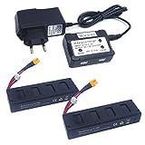 Wwman 2pcs 7.4V 1800mah 25C batería y 1to2 7.4V cargador de batería para MJX B3 Bugs 3 Rc Quadcopter Drone piezas de repuesto