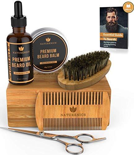 Kit Per La Cura Della Barba Premium Per Uomo - 100% olio bio barba, Spazzola per barba, pettine barba, cera balsamo per barba e baffi, forbici per barbiere con set regalo in bambù e eBook