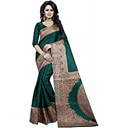 Ishin Women's Silk Saree With Blouse Piece (Swaya-Kalamkaarisilkgreen_Green)