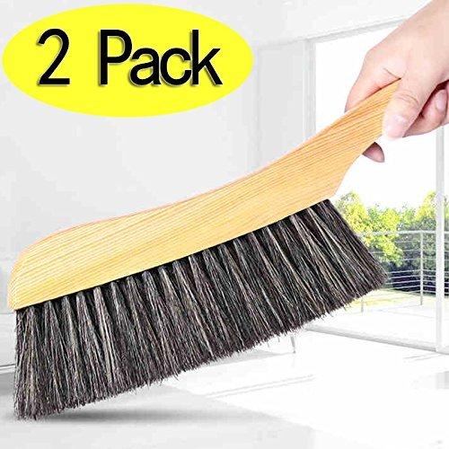 Morbida spazzola -2pcs manico in legno hotel famiglia vestiti polvere capelli divano lenzuola copriletto con setole naturali per pulizia tappeti grande in legno per casa, ufficio e auto set di 2