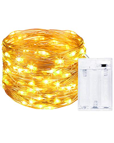 Litogo Luci LED Batteria, Catena Luminosa 5m 50 LED Fairy Light Filo Rame Ghirlanda Luminosa Lucine LED Decorative Waterproof per Camere da Letto Giardino Casa Feste Natale Matrimonio (Bianco Caldo)