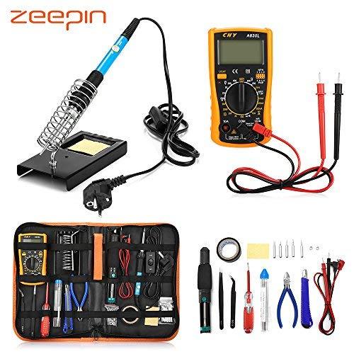 ZEEPIN Saldatore Elettrico Stagno Professionale Kit-23 in 1 di Saldatura con Valigetta per...