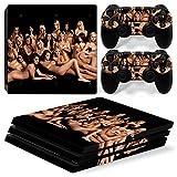 Stillshine PS4Pro Vinyl Skin Decal selbstklebender Aufkleber für Playstation 4Pro Konsole & 2Dualshock Controller im Set schwarz Sexy Girl