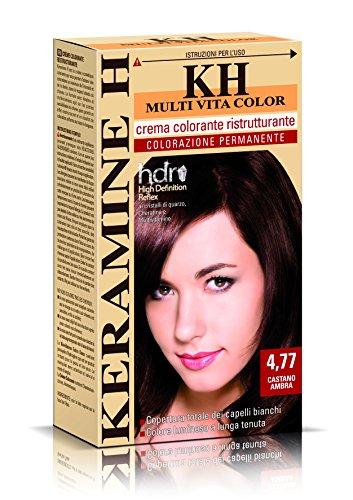 Keramine H Crema Colorante Ristrutturante, Castano Ambra - 3 Confezioni da 110 ml - Totale: 330 ml