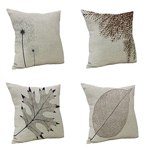 Nunubee le foglie cuscino di cotone stampato in lino Divano Vintage Federa per cuscino Home...