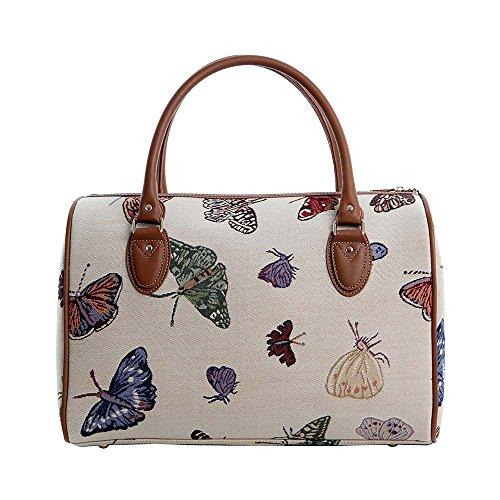 Bolso de viaje grande de moda Signare para mujer en tela de tapiz para el fin de semana o una noche afuera de casa Mariposa