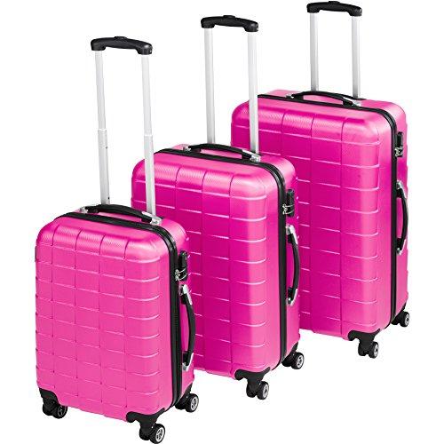 TecTake Set di 3 valigie ABS rigido trolley valigia bagaglio a mano | sistema di rotelle girevoli a...