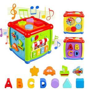 AiTuiTui Música Cubo de Actividades, 6 en 1 Incluye Caja de música Bloques Reloj Habilidades Motoras Juguetes educativos…