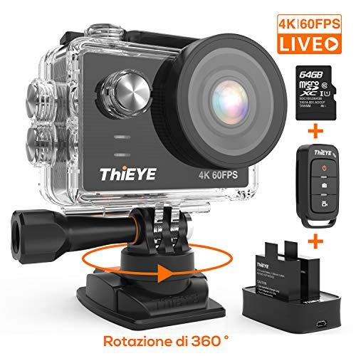 ThiEYE Action Cam T5 PRO Diretta Streaming 4K 60fps WiFi 20MP Rotazione 360° Grandangolare 170° 8 Volte Zoom 2.0'' Ultra HD Touch Screen 60M Subacquea con Telecomando 1100mAh Batterie Kit Accessori