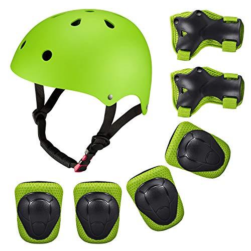 SKL Set di Casco, Ginocchiere, gomitiere e Guanti in Gel per Bambini, per Hoverboard, Scooter, BMX e...