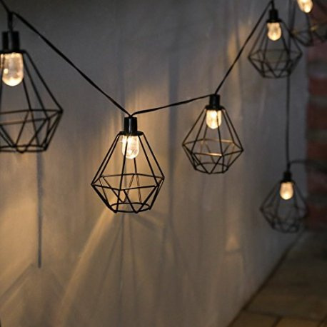 guirlande lumineuse solaire 10 lanternes fil de m tal noir style industriel led sur c ble noir. Black Bedroom Furniture Sets. Home Design Ideas