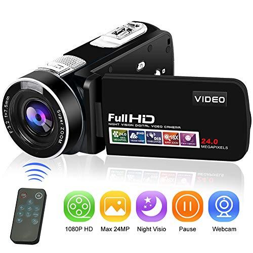 Videocamera digitale Videocamera digitale Full HD 1080P 24.0MP Videocamere per vlogging Visione...