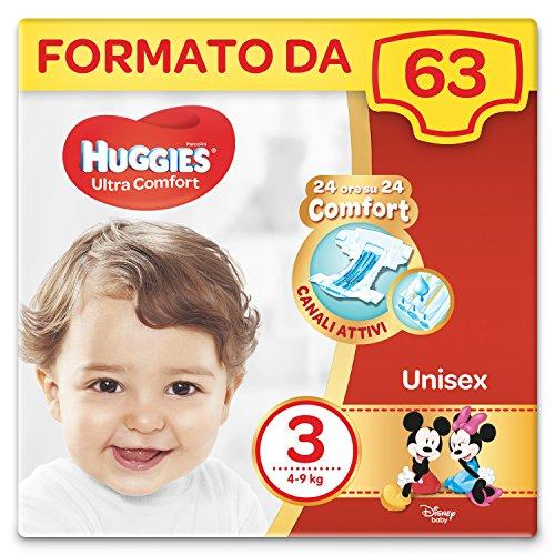 Huggies Pannolini Ultra Comfort, Taglia 3 (4-9 kg), Confezione da 63 Pannolini