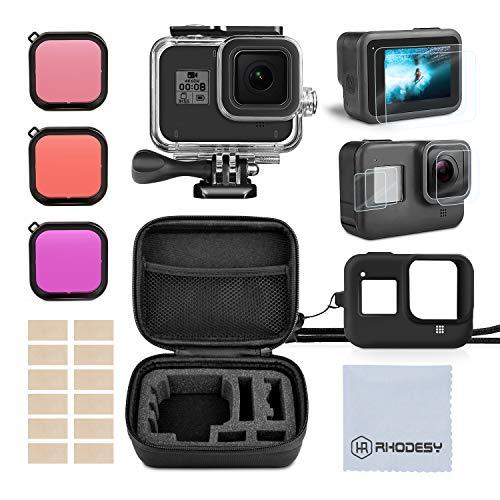 Rhodesy Kit Accessori Set per GoPro Hero 8 Black(Nero), Custodia Protettiva Impermeabile Pacco Accessori, Film Temperato, Custodia Protettiva, Filtri per GoPro Hero 8 Action Camera