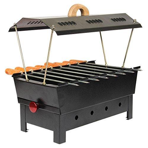 Rah's Iron Charcoal Grill (8 Skewers,Matte Black)