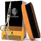 hisMane Men's Boar Bristle Beard Brush, Wooden Grooming Comb, Professional Scissors and Travel Bag Kit - Facial Hair Care Gift Set