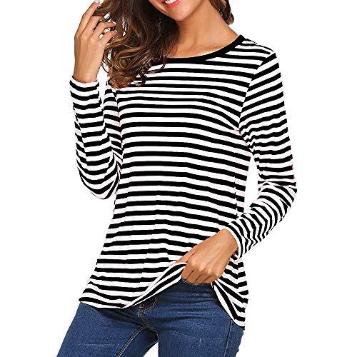Camiseta para Mujer,Mujeres Manga Larga Cuello Redondo Camiseta Básica Rayas Blusa Túnica Tops