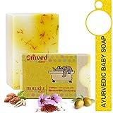 Omved MRUDU-Soft Natural Saffron & Almond Milk Handmade Baby Soap - 100% Pure, Vegan & Chemical-Free - 125 g