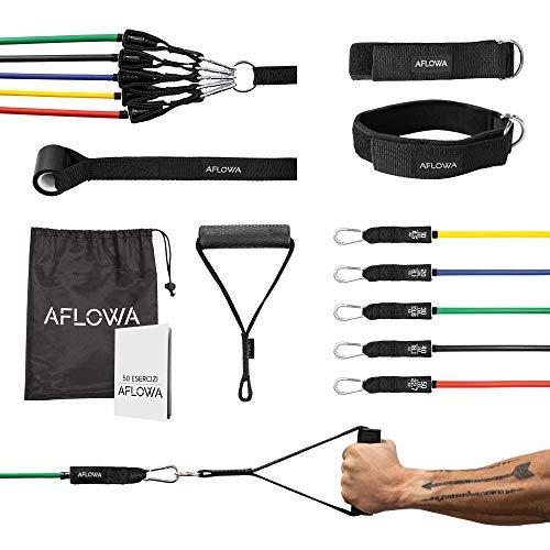 Aflowa Fitness Kit di Elastici Fitness, Bande Elastiche di Resistenza, Fasce di Resistenza 100%...